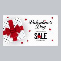 design di banner orizzontale di vendita di san valentino con confezione regalo vettore