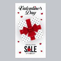 design di poster di vendita di san valentino con confezione regalo vettore