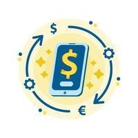 mercato di criptovaluta per lo scambio. servizio di cambio valuta mobile vettore