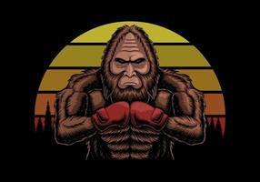 bigfoot indossando guanti da boxe al tramonto illustrazione vettoriale retrò