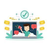 marketing digitale, promozione dei contenuti di siti Web su Internet e social media vettore