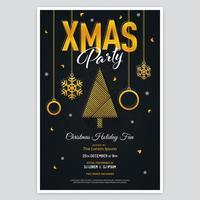 poster di festa di natale di lusso con albero astratto e ornamenti vettore