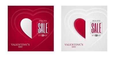 insieme della bandiera dell'invito del taglio della carta di vendita di san valentino