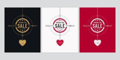 poster di vendita di san valentino con set di ciondoli a cuore