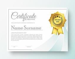 certificato di premio moderno in colore bianco vettore