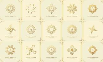 una collezione di ornamenti con logo mandala di lusso in stile classico vettore
