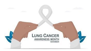 mese di sensibilizzazione sul cancro ai polmoni, novembre. il nastro bianco è un segno di questa malattia. grafica per banner, poster, sfondo e pubblicità. illustrazione vettoriale piatto isolato su sfondo bianco.