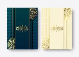 set di design di menu mandala premium di lusso vettore