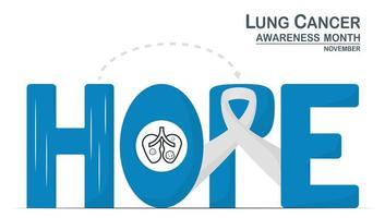 mese di sensibilizzazione sul cancro ai polmoni, novembre. il nastro bianco è un segno di questa malattia. grafica per banner, poster, sfondo e pubblicità. i testi di calligrafia significano speranza. vettore