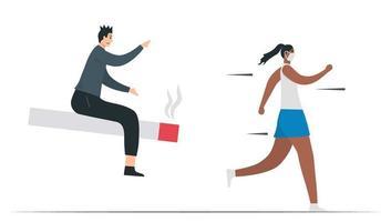 la donna sta scappando dall'uomo che fuma. questa illustrazione è progettata nel concetto di fumo passivo. mese di sensibilizzazione sul cancro ai polmoni, novembre. illustrazione vettoriale piatto isolato su sfondo bianco.