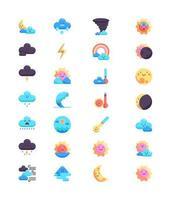set di icone meteo, stile colorato