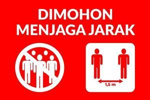 si prega di mantenere le distanze scritte in indonesia vettore