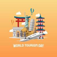 illustrazione disegnata a mano del concetto di giornata mondiale del turismo. illustrazione vettoriale