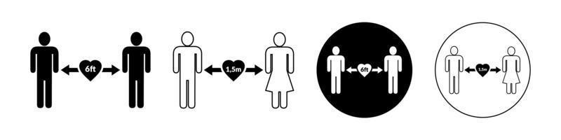 set di icone di distanziamento sociale. semplice uomo o donna in bianco e nero sagome con freccia distanza tra. può essere utilizzato durante la prevenzione dell'epidemia di coronavirus covid-19. vettore