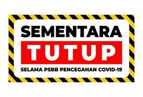 scusa temporaneamente chiuso scritto in indonesia