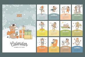 calendario 2021 in stile cartone animato disegnato a mano con il simbolo del toro dell'anno. tori mensili per tutte le stagioni. poster per la stampa. vettore