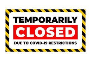 temporaneamente chiuso per restrizione covid