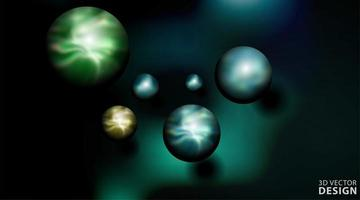 illustrazione realistica di vettore della palla 3d. sfere in uno sfondo scuro