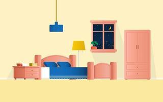 interior design camera da letto con finestra e pianta in camera vettore