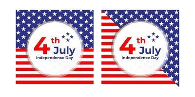 Banner quadrato del 4 luglio giorno dell'indipendenza vettore