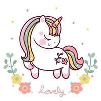 vettore di unicorno carino con fiori pastello