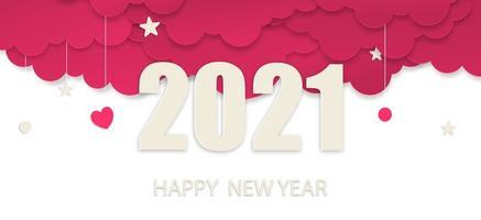 felice anno nuovo 2021 paper art style, banner del nuovo anno 2021 vettore