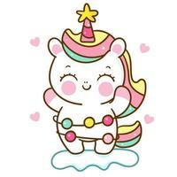vettore di unicorno carino con cartone animato pony natalizio lightw