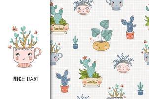 piante simpatico cartone animato nel piatto. carta e set di pattern di sfondo senza soluzione di continuità. vettore