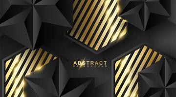 sfondo geometrico astratto. Illustrazione vettoriale 3D. triangolo o piramide nera. esagoni con motivo a strisce dorate.