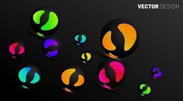 Il cerchio sferico 3d si illumina su uno sfondo scuro. illustrazione del design in eps 10 vettore