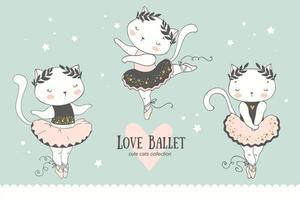simpatico cartone animato baby cat ballerina collezione. personaggi che ballano piccoli gattini. vettore