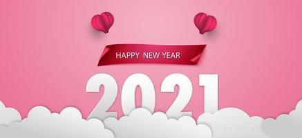 felice anno nuovo 2021 sfondo rosa vettore