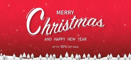 buon Natale e felice anno nuovo tipografici su sfondo di Natale con paesaggio invernale con fiocchi di neve, buon natale card. illustrazione vettoriale