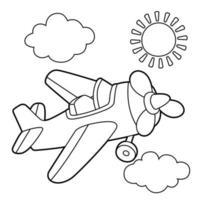 Pagina da colorare di aereo a elica vettore