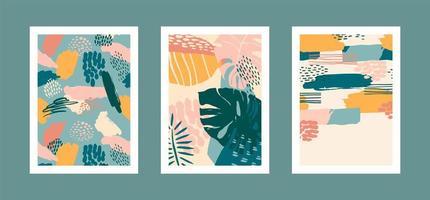 collezione di stampe d'arte con foglie tropicali astratte. design moderno per poster, copertine, cartoline, decorazioni per interni e altri utenti. vettore
