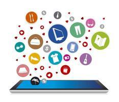 progettazione dello shopping online su sfondo bianco vettore
