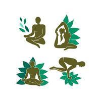 insieme del modello dell'illustrazione della stazione termale del loto di salute di meditazione di yoga
