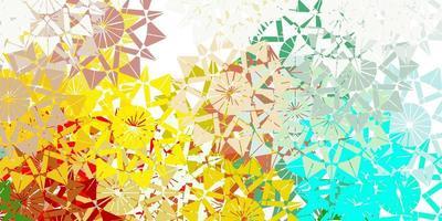 modello vettoriale multicolore chiaro con fiocchi di neve colorati.