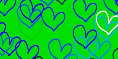sfondo vettoriale azzurro, verde con cuori brillanti.