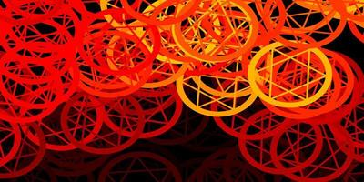 modello vettoriale rosso scuro con segni esoterici.