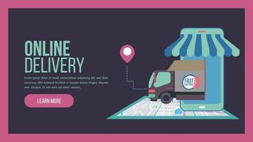 pagina di destinazione del concetto di servizio di consegna online con camion vettore