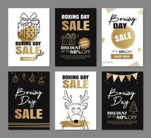 boxing day sale banner design con modelli di decorazione di lusso in oro vettore