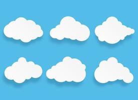 fumetto di nuvola di arte di carta e set di elementi vettore