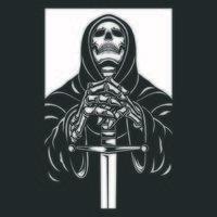 Grim Reaper con illustrazione vettoriale di carattere spada, in bianco e nero