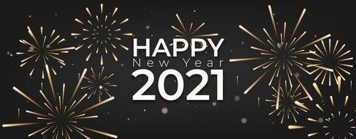 felice anno nuovo con fuochi d'artificio e sfondo celebrazione vettore