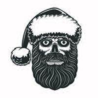 teschio barbuto con cappello da Babbo Natale per la celebrazione del Natale vettore