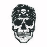 teschio pirata con bandana sulla testa vettore