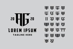 set di lettere impostato per creare un logo monogramma vettore