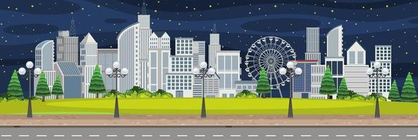paesaggio della città di scena notturna vettore