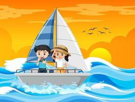 scena del tramonto sulla spiaggia con una coppia di bambini in piedi su una barca a vela vettore